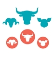 Set of farm animals heads flat icons vector image vector image