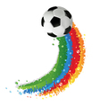 Soccer ball and rainbow trail vector image vector image