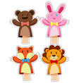 Sticker set with hand puppets vector image vector image