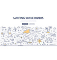surf wave riders doodle concept vector image vector image