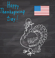 Thanksgiving day sketch doodle turkey in pilgrims vector image vector image