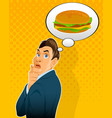 thinking about hamburger vector image