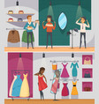 trying shop flat people composition set vector image vector image
