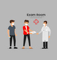 two men with mask see a doctor at examination vector image