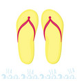 yellow flip flops rest on the sea summer time at vector image