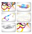 Set of 6 metallic themed business card templates vector image