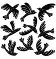set of cute black birds vinil stickers vector image