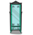 a gray cupboard with turquoise details and a vector image vector image