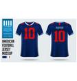american football jersey mockup template design vector image
