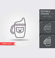 baby cup line icon with editable stroke vector image vector image