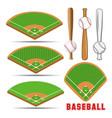 baseball fields leather ball and wooden bats