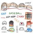 baseball tennis rap cap chav set vector image vector image