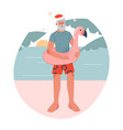 bearded man in red santa hat with flamingo vector image vector image