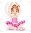 Beautiful ballerina girl in blue dress sit on vector image