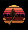 bigfoot canoe sunset retro vector image vector image