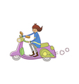 boy sitting on scooter vector image vector image