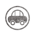 Car icon with pixel print halftone dots texture vector image vector image
