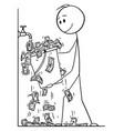 cartoon man or businessman turning water vector image vector image
