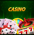 casino dice banner signboard on background vector image vector image