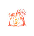 cute couple on holiday together summertime beach vector image vector image
