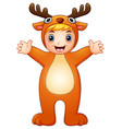 cute kid in christmas deer vector image