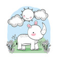 cute rhino with happy sun and plants vector image vector image