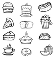 Doodle of junkfood art vector image vector image