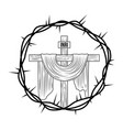 engraving sacred cross crown thorns vector image vector image