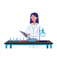 female chemistry scientist standing behind science vector image vector image