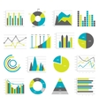 Graphs Flat Icons Set vector image