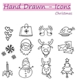 Hand draw collection Christmas icon set vector image vector image