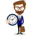 happy businessman holding big clock concept of vector image