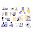 identification technologies flat set vector image vector image