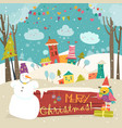 little town in snowdrifts vector image vector image