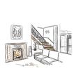 Modern interior hand drawn sketch vector image vector image