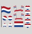 netherlands flag set collection of symbols heart vector image