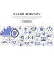 network cloud security linear style infographics vector image vector image