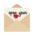 open your heart drawing inscription and opened vector image vector image