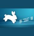 paper rabbit icon on blue studio vector image