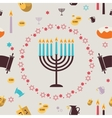 pattern with Hanukkah symbols Greeting card vector image vector image