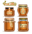 pear jam in glass jars vector image vector image