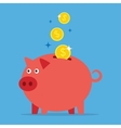 Piggy bank with coins vector image vector image