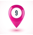 Pink realistic 3D glossy map point symbol vector image