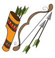 quiver arrows and bow ancient weapon vector image