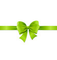 realistic 3d detailed green bow with horizontal vector image vector image