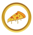 Salami pizza slice icon vector image vector image