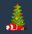 santa claus sleeping under christmas tree vector image vector image