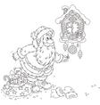 Santa winding up his cuckoo-clock vector image