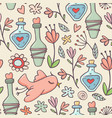 seamless pattern potions birds flowers yellow vector image vector image