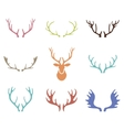 Set of hand drawn deer horns on the white vector image